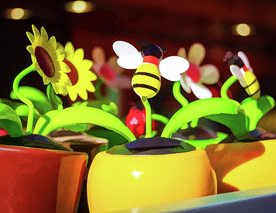 Flowers Digital Art - Flowers And Bees by Borja Robles