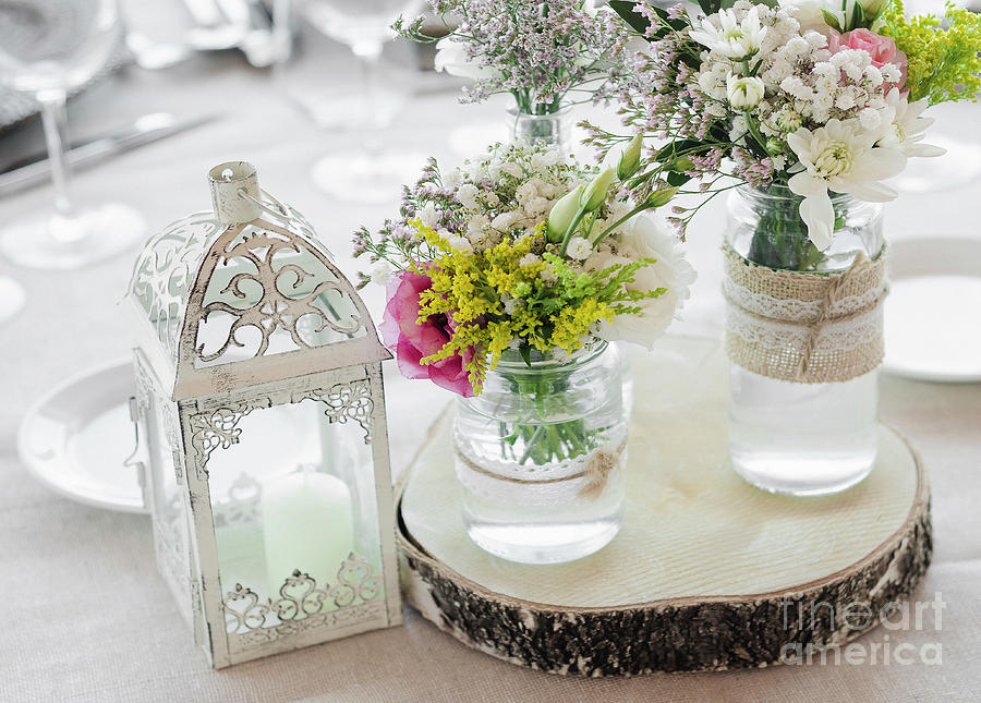 Flowers Arrangement And Decoration Rustic Interior Design In Wed