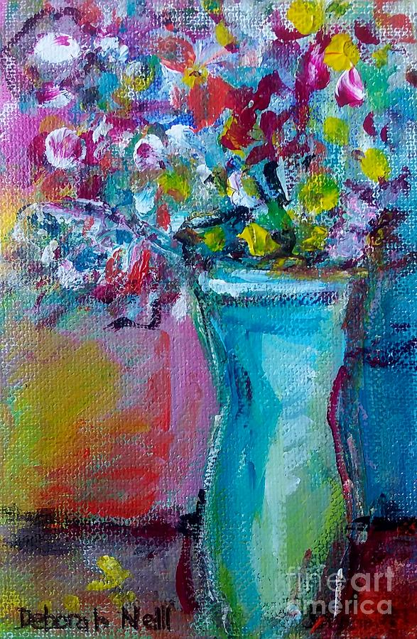 Flowers in a Blue Vase by Deborah Nell