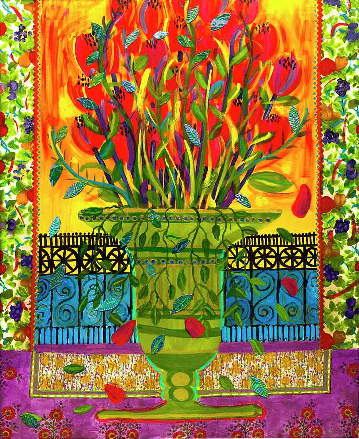 Flowers In A Green Vase Painting by Evelyn Berde