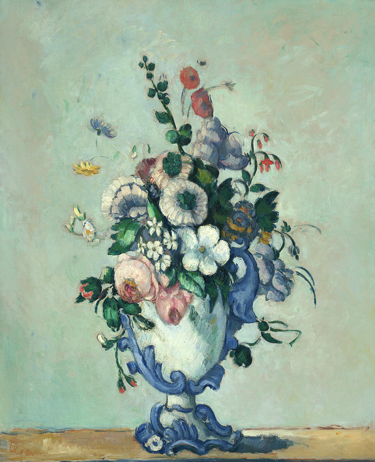 Cezanne Painting - Flowers In A Rococo Vase, 1876 by Paul Cezanne