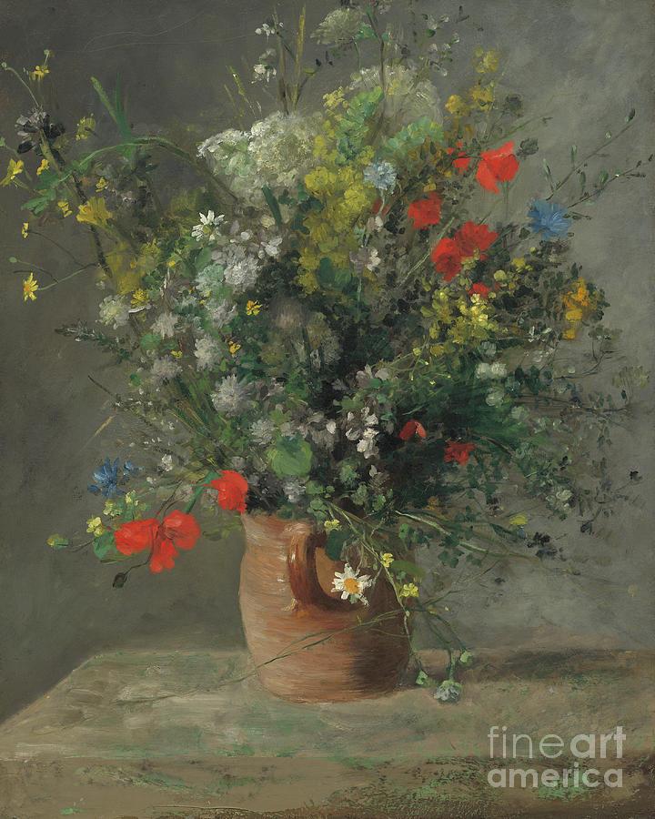 Renoir Flowers Painting - Flowers In A Vase, Circa 1866 by Pierre Auguste Renoir