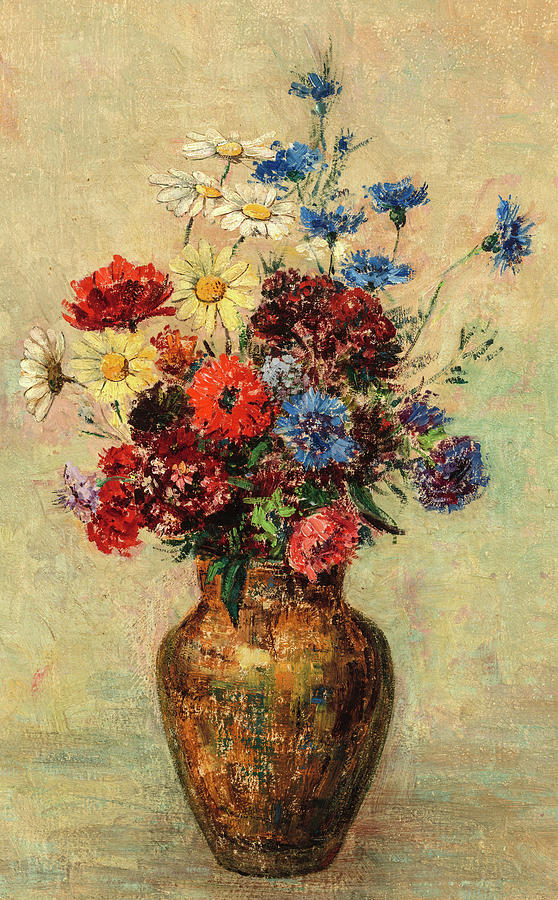 Odilon Redon Painting - Flowers In A Vase, Circa 1910 by Odilon Redon