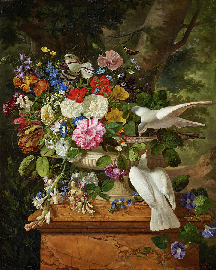 Flowers In A Vase Painting - Flowers In A Vase With Two Doves by Francois Lepage