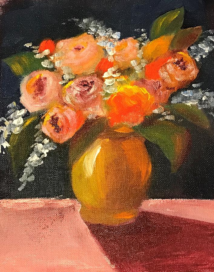 Flowers in Gold Vase by Marilyn Jacobson