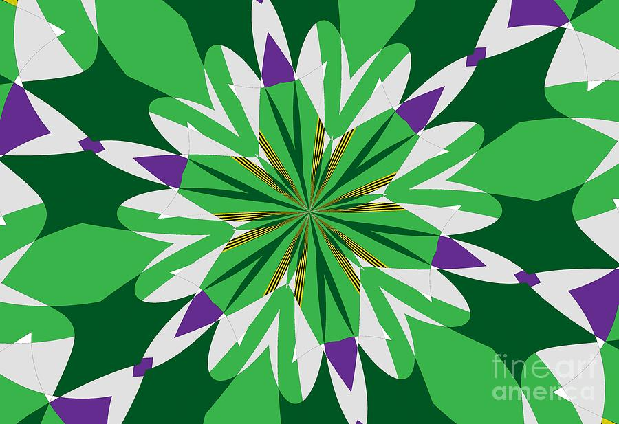 Green Mixed Media - Flowers Number 25 by Alex Caminker