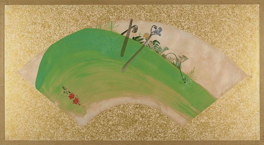 Shibata Zeshin Painting - Flowers On Grass - Digital Remastered Edition by Shibata Zeshin