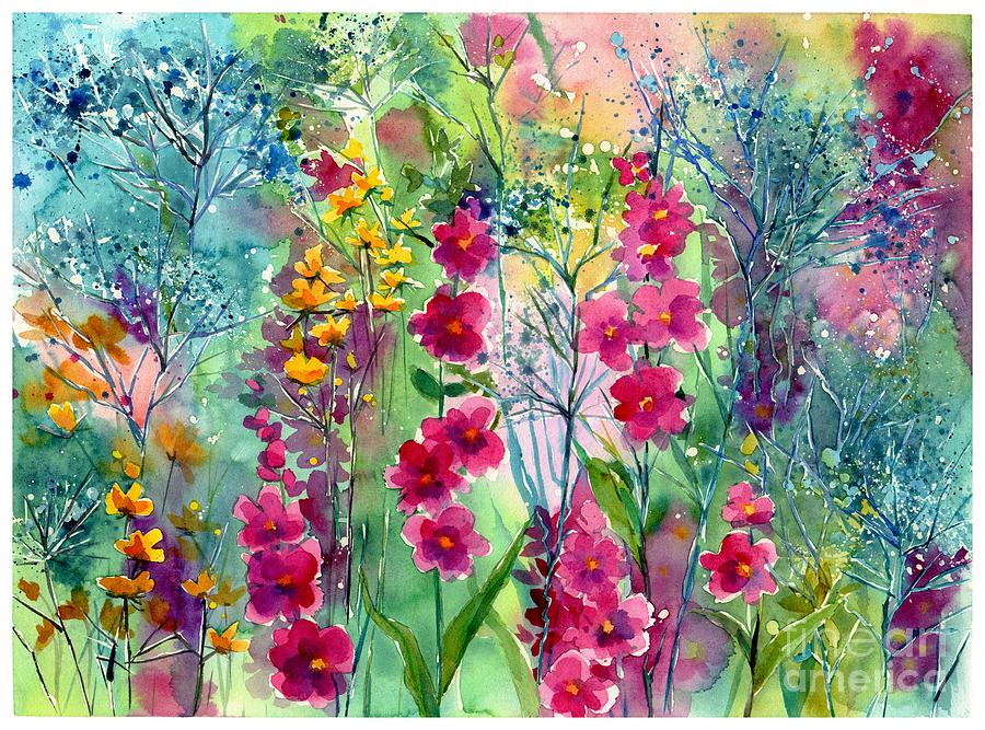 Pink Painting - Flowery Fairy Tales by Suzann Sines