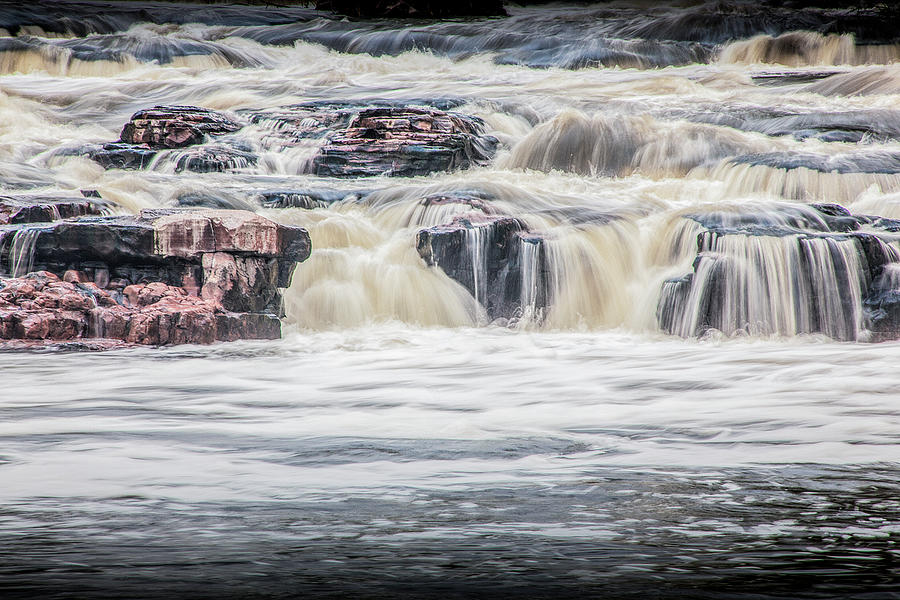 Flowing Water Falls at Falls Park in Sioux Falls South Dakota by Randall Nyhof