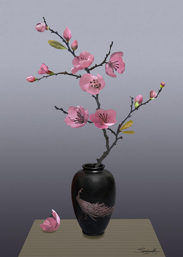 Flowering Pink Quince in Vase by M Spadecaller