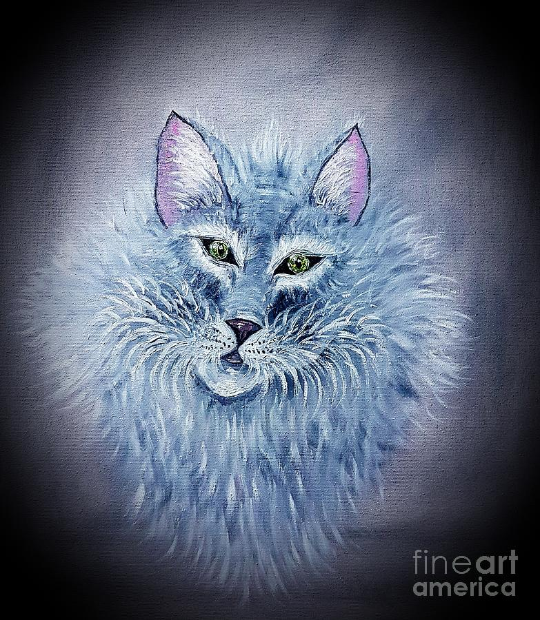 Cat Painting - Fluff The Elegant Cat by Angela Whitehouse