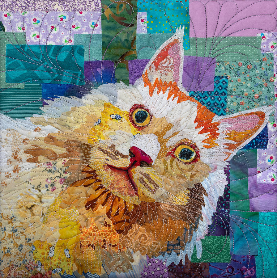 Cat Tapestry - Textile - Fluffy Cat by Rebecca Musgrave