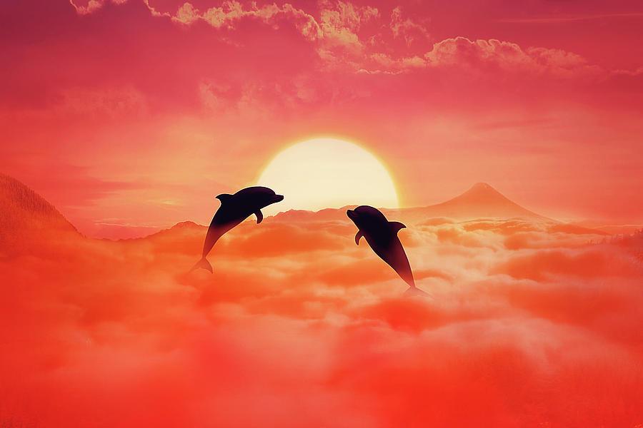 Flying Dolphins Digital Art