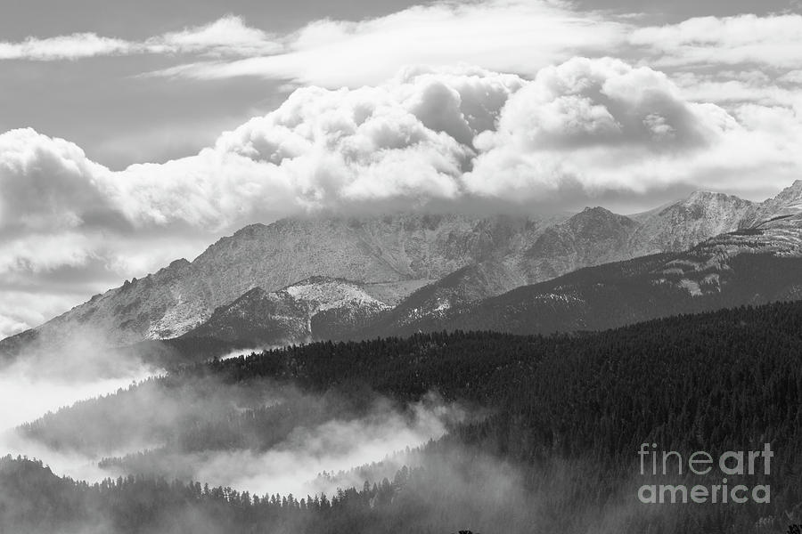 Fog And Snow On Pikes Peak Colorado Photograph