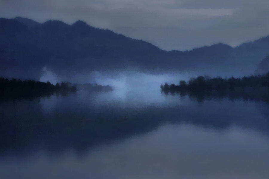 Fog on the Dark Mountain Lake by Menega Sabidussi