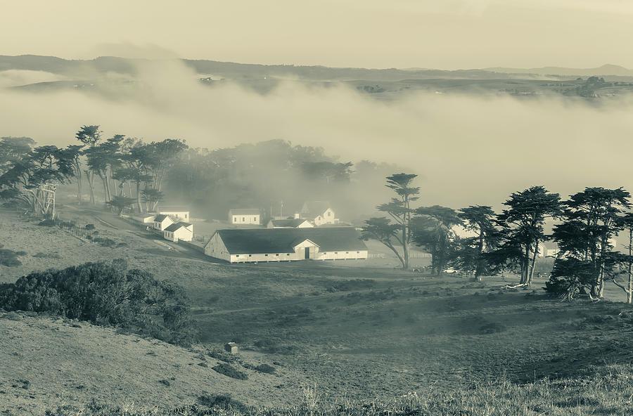 fog over pierce ranch monochrome by Jonathan Nguyen