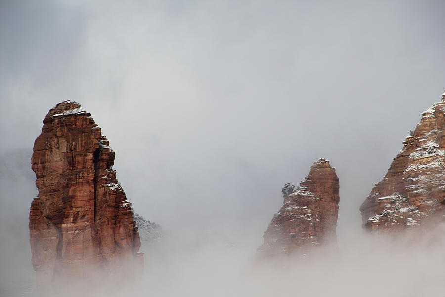 Fog Red Rock Snow Mountain Heaven Photograph by Sassy1902