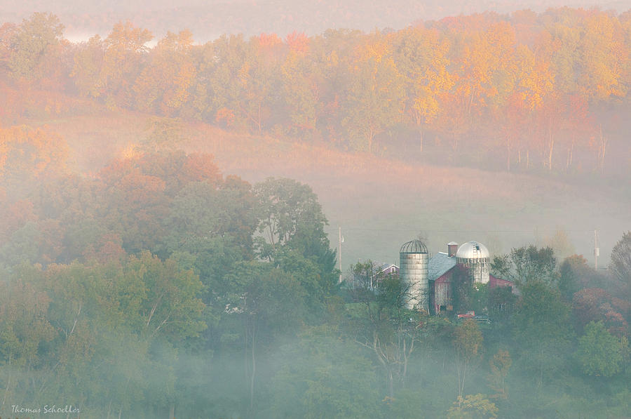 Foggy Autumn Morning Vermont by T-S Photo Art