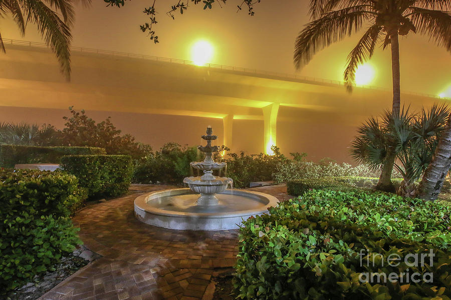 Foggy Fountain and Bridge by Tom Claud