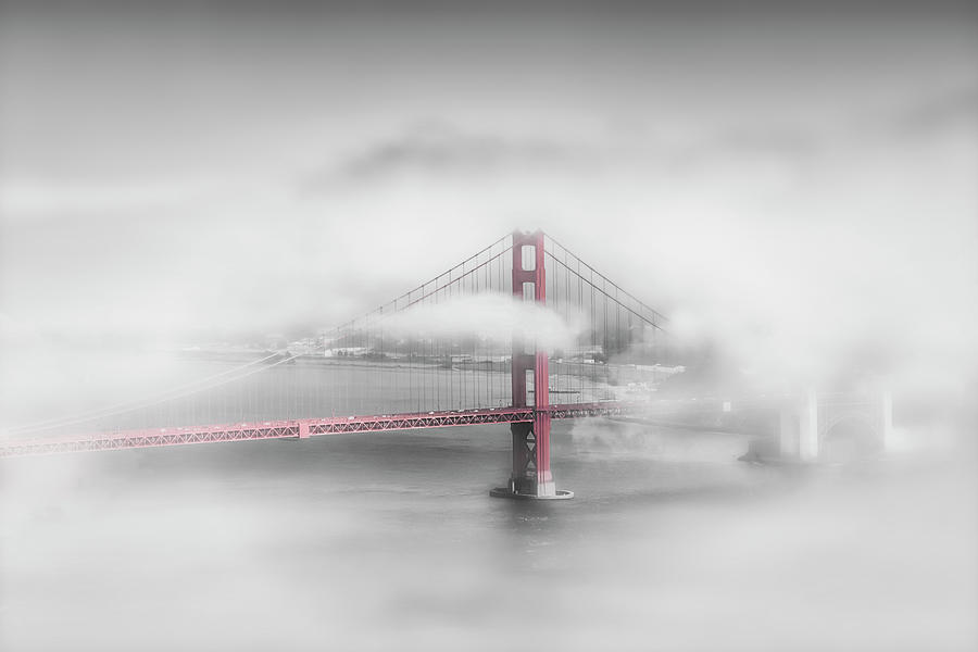America Photograph - Foggy Golden Gate Bridge - colorkey by Melanie Viola