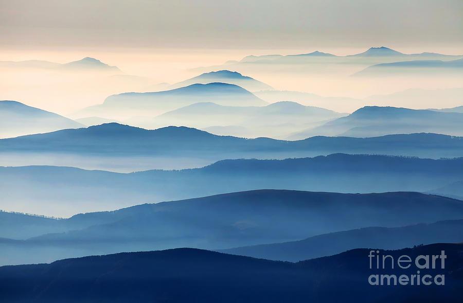 Sunshine Photograph - Foggy Landscape In The Romanian by Mikadun