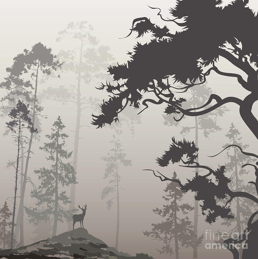 Deer Digital Art - Foggy Landscape With Silhouette Of by Eva mask