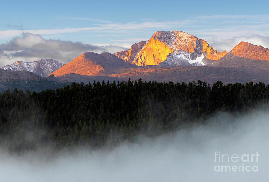 Foggy Longs Peak at First Light by Steve Krull