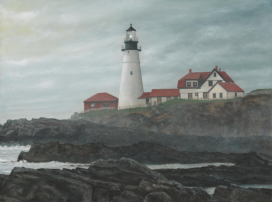 Maine Painting - Foggy Morning At Portland by David Knowlton