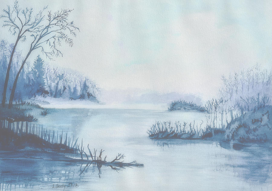 Foggy Morning at the Lake Lightened by Linda Brody