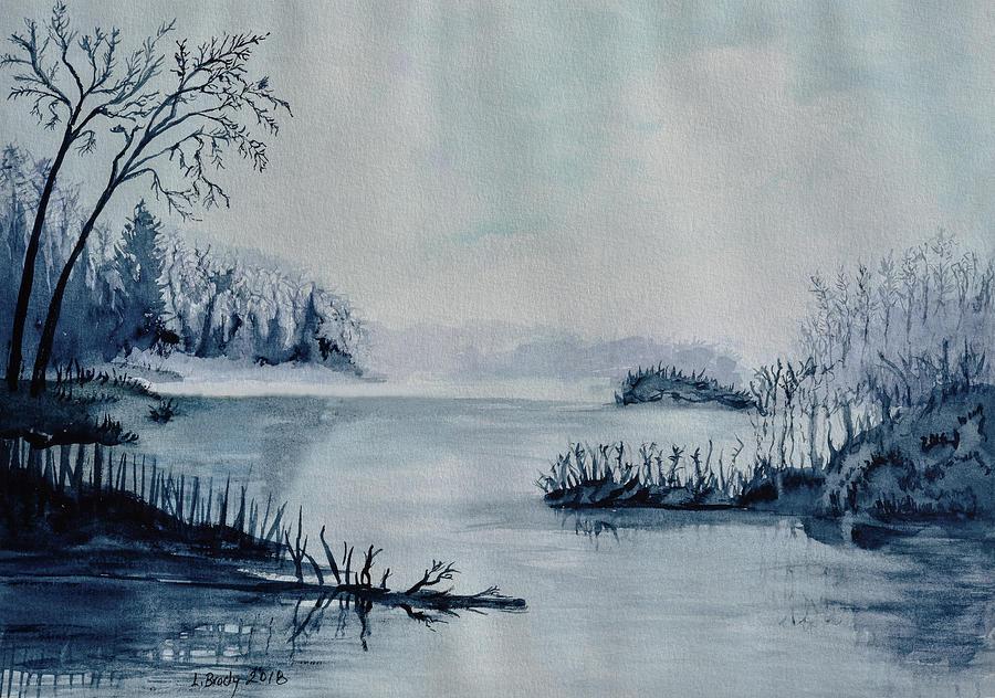 Foggy Morning at the Lake Original by Linda Brody