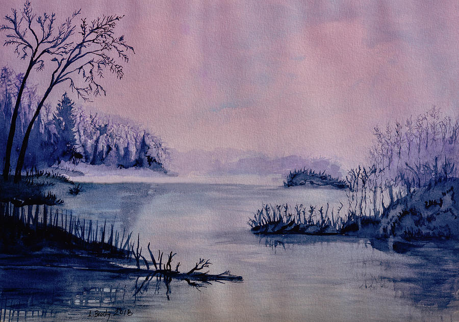 Foggy Morning at the Lake pink purple cast by Linda Brody