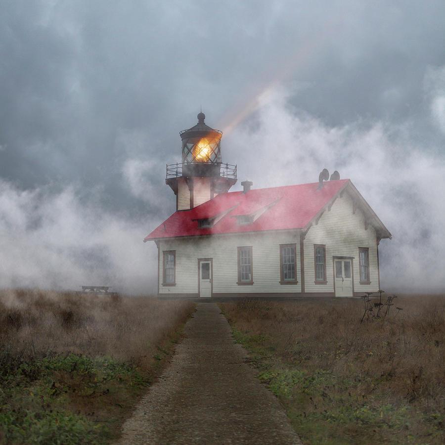 Lighthouse Photograph - Foggy Point Cabrillo Lighthouse California by Betsy Knapp