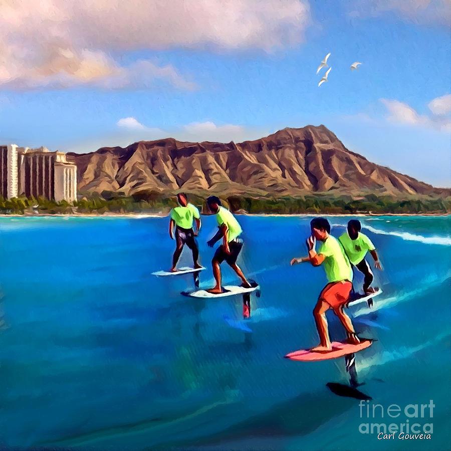 Foil Surfing Waikiki Beach