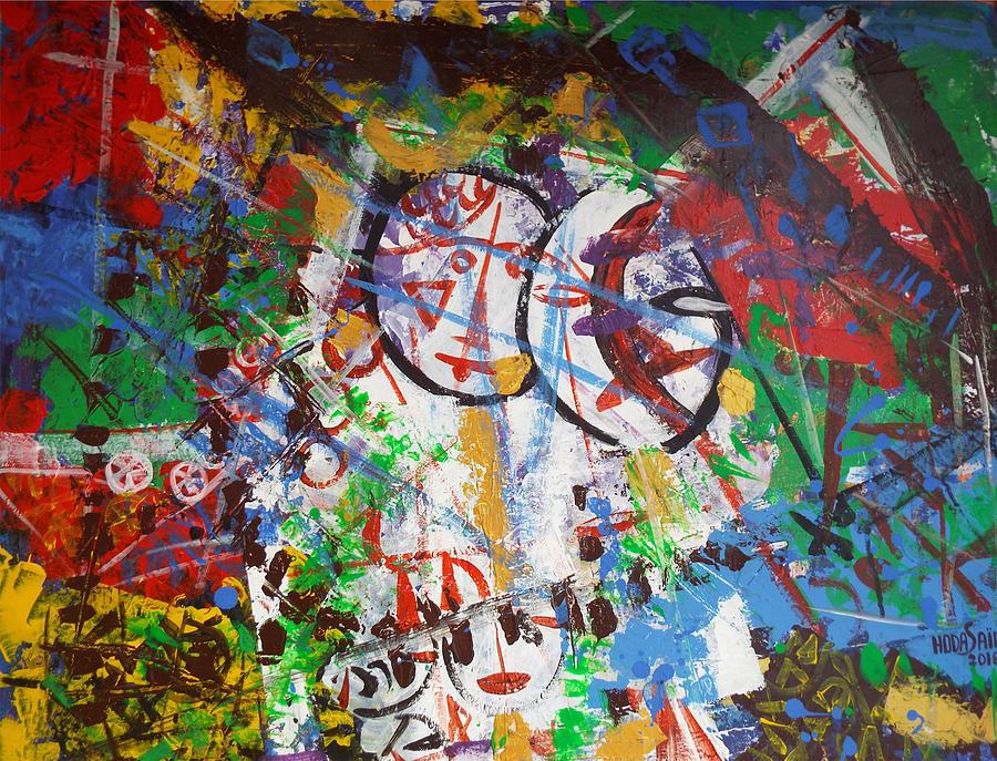 Fold Painting - Folk art in tent by Hoda Said Ibrahim