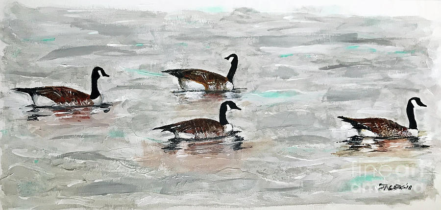 Geese Painting - Following The Leader by Kevin Scott Jacobs
