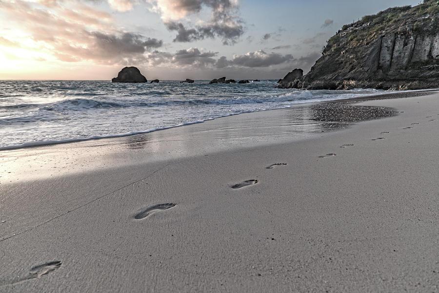 Beach Photograph - Follow Me Thoughtful Coastal Sunrise by Betsy Knapp