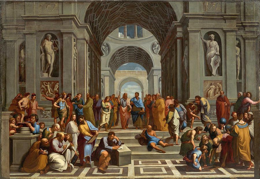 Follower Of Raphael, 17th Century School Of Athens Painting