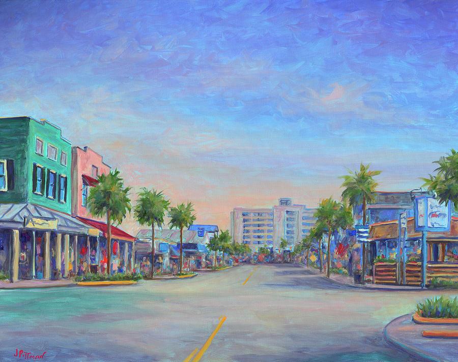 Folly Beach Painting - Folly Beach Center Street by Jeff Pittman
