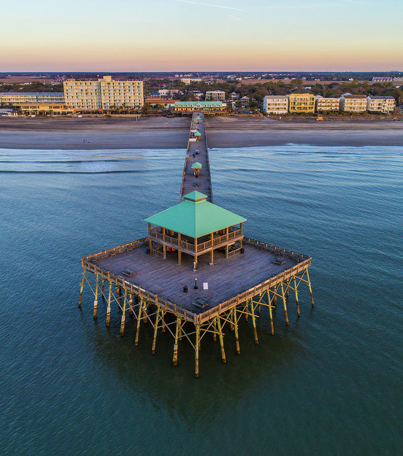 Folly Beach Pier Aerial View by Donnie Whitaker