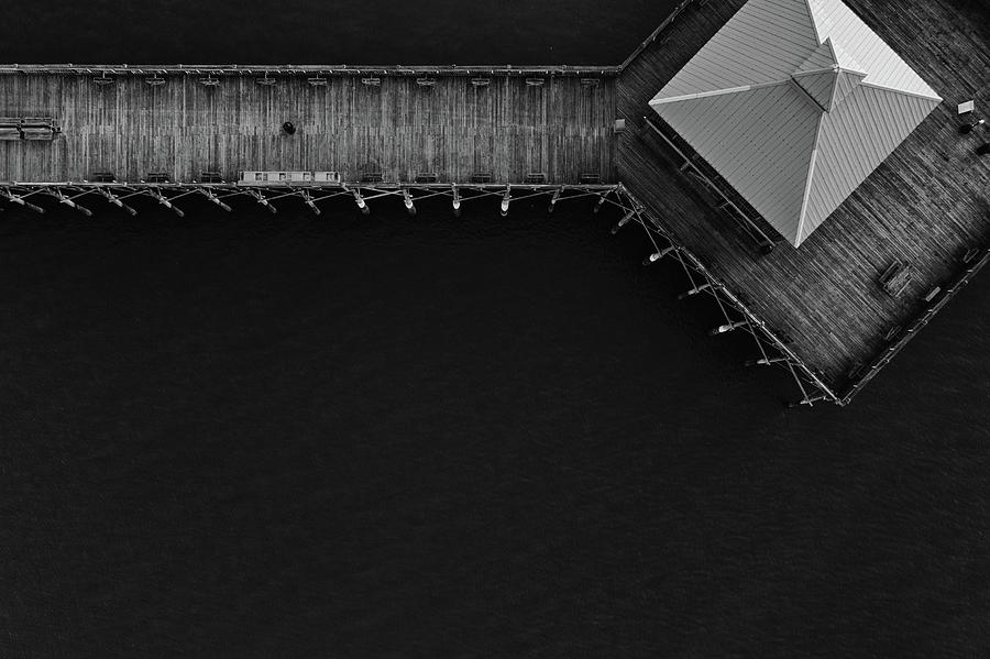 Folly Beach Pier Black and White Aerial by Donnie Whitaker