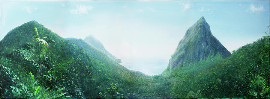 Landscape Painting - Fond Pitons by Jonathan Guy-Gladding JAG