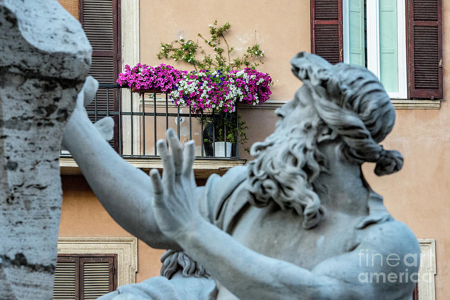 Flowers Photograph - Fontana Dei Quattro Fiumi by Joseph Yarbrough