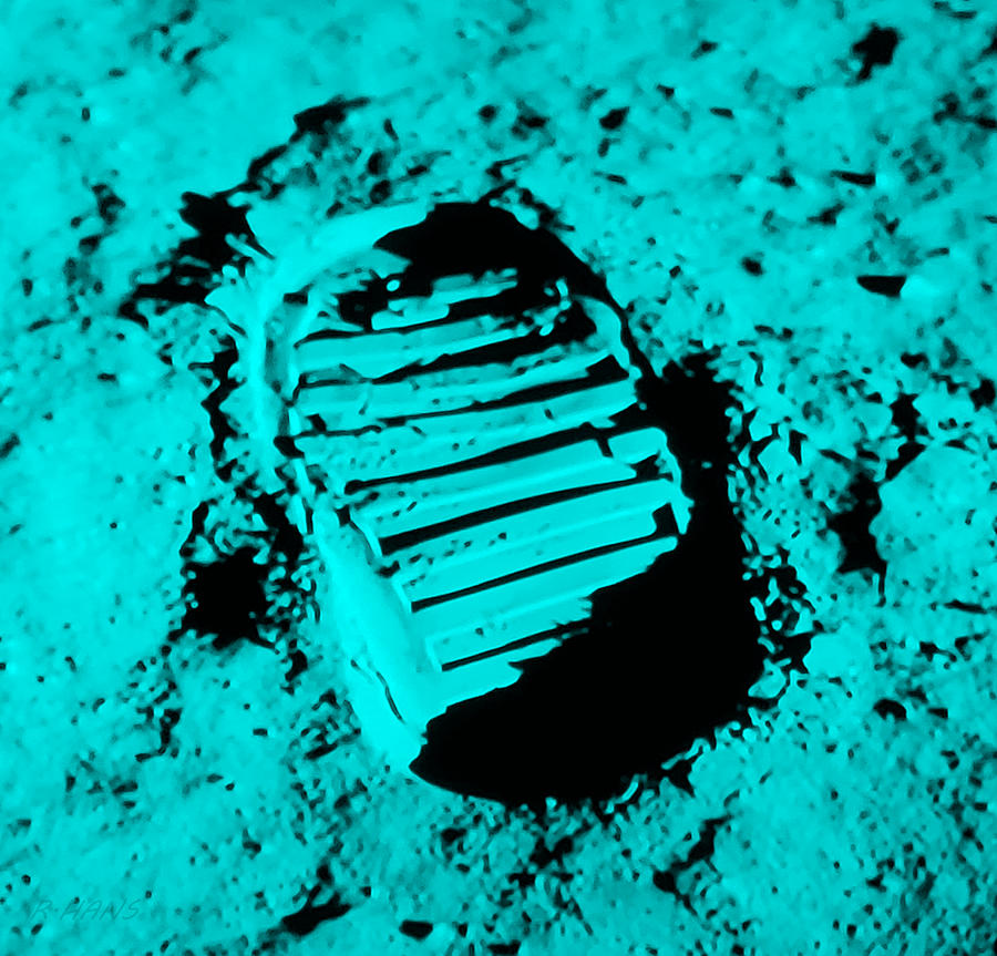 FOOT PRINT ON THE MOON in CYAN by Rob Hans