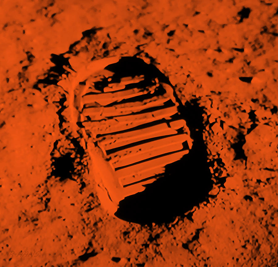 FOOT PRINT ON THE MOON in ORANGE by Rob Hans