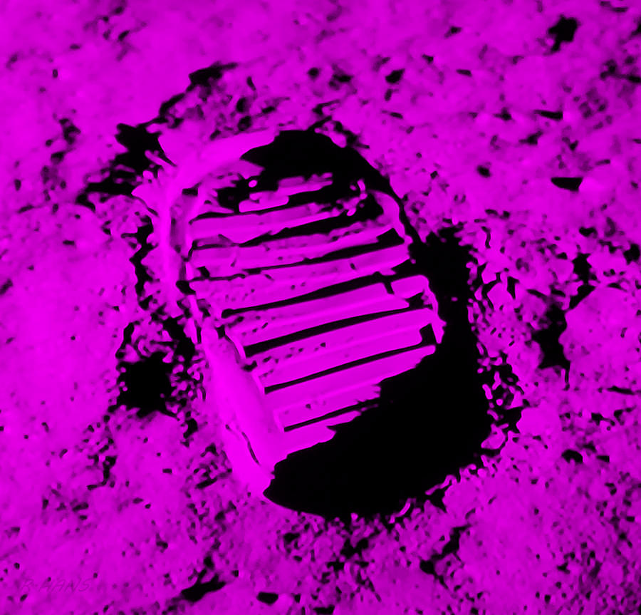 FOOT PRINT ON THE MOON iN PURPLE by Rob Hans