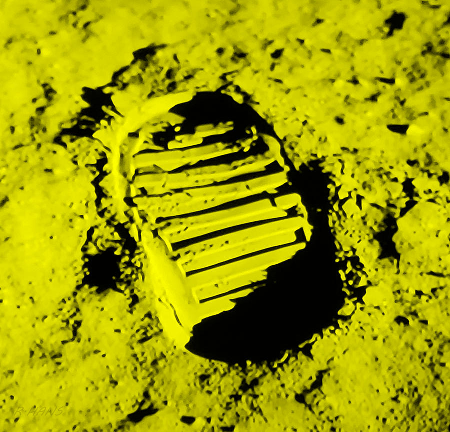 FOOT PRINT ON THE MOON in YELLOW by Rob Hans