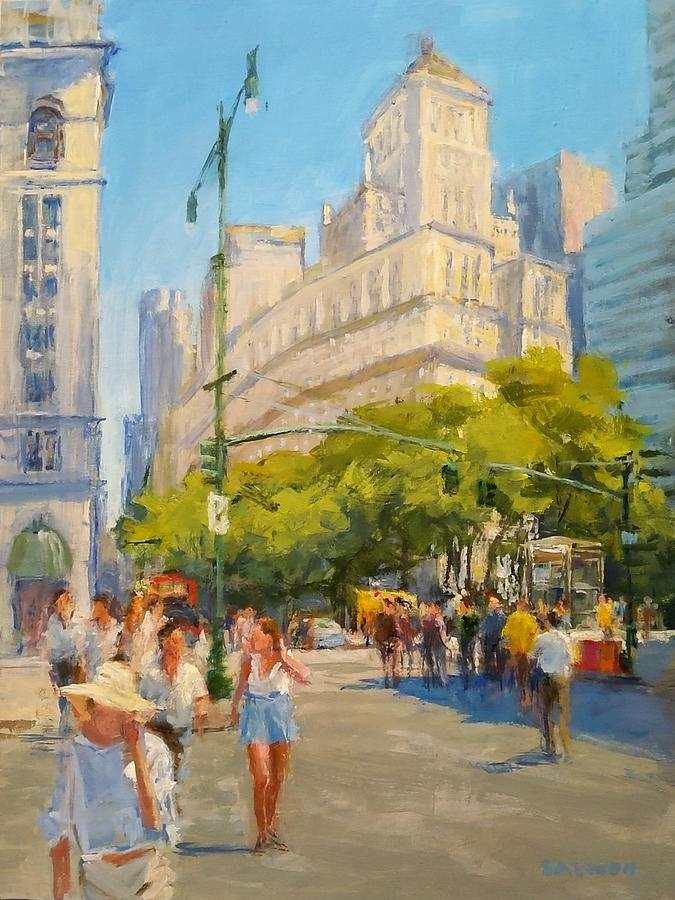 New York Painting - Foot Traffic, Bowling Green by Peter Salwen