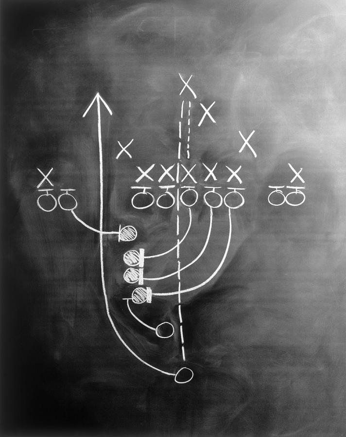 Football Play On Chalkboard Photograph by Sokol,howard