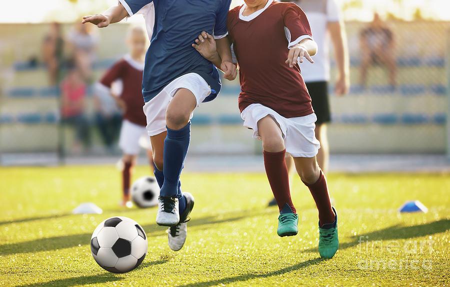 Football Photograph - Football Soccer Training For Kids. Children Football Training by Mateusz Dembowiak