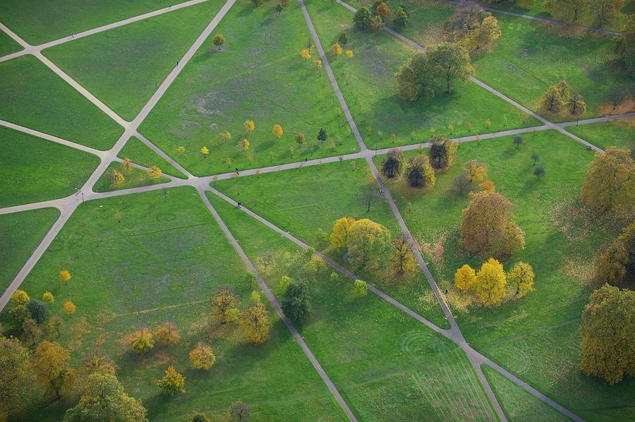 Footpaths Across Hyde Park, London Photograph by Jason Hawkes